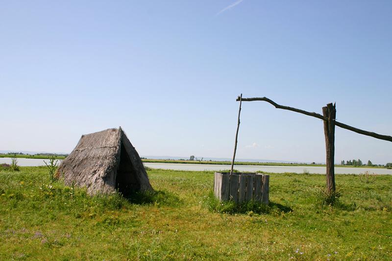 Schilfhütte und Ziehbrunnen im Seewinkel